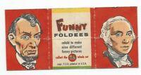 Vintage 1949 Topps Funny Foldees #25 Lincoln, Washington, Roosevelt