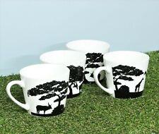 Set of 4 Coffee Mugs Tea Cups Jungle Africa Animals Black White Bone China Large