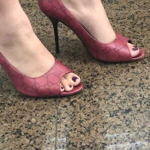 Gucci Red Burgundy GG Monogram Leather Open Toe Kitten Heel Size 39 1/2 9 1/2