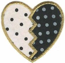 """2"""" Metallic Gold Black White Polka Dot Heart Patch"""