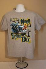 NEW Mens Graphic T-Shirt XL Fishing Think I Need A Bigger Tackle Box Gray Crew