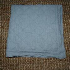 Pottery Barn 100% Linen Diamond Quilted Euro Pillow Sham Pretty Blue