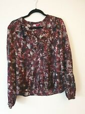 Table Eight 100% Silk Button Down Blouse, ruffle detail, Size 16, As New