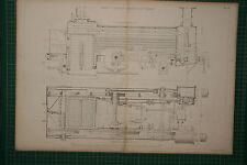 1855 LARGE LOCOMOTIVE PRINT ~ JOHN V. GOOCH'S SNAKE ENGINE SECTION PLAN