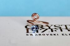 Swirl Light Sapphire Rose Gold Plated Toe Ring with Swarovski Crystals Elements