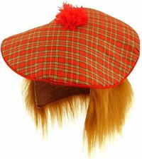 SCOTTISH Scots Mens Tam O Shanter Fancy Dress Costume Ginger TARTAN HAT & WIG UK