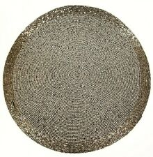 "NEW TAHARI BEADED 15"" ROUND SILVER,GREY CHARGERS,PLACE MAT-HAND MADE FROM INDIA"