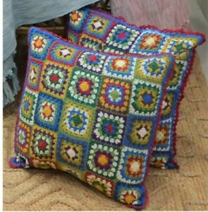 "Handmade Embroidered Crochet type Cushion Cover 18"" X 18"" (45cm X 45cm) New"