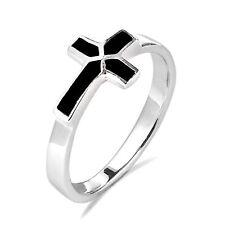 Sideways Cross Black Onyx Inlay Sterling Silver Ring-8