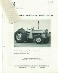 NIAE Test Report On Test Massey Ferguson MF 205X Diesel Tractor 1964 5506F