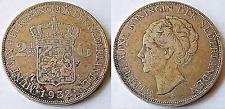 NETHERLANDS 1932 2 1/2 GULDEN WILHELMINA .720 SILVER COIN
