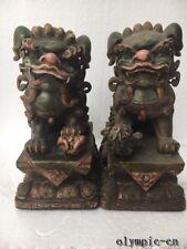 10'' chinese pottery porcelain artware Pair avoid evil spirits Lion Foo fu dog