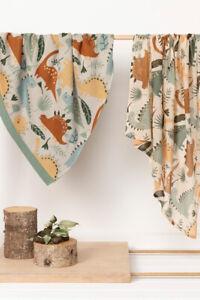 2 piece Dinosaur Newborn Baby Cotton Blanket & Swaddle Wrap Gift Set Sky Clay