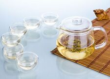 7in1 Tea Set - 1x 500ml Heat Resistant Glass Teapot w/ infuser+6x 35ml Tea Cups