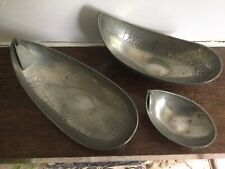 Vintage Pewter Tenn Handarbete (Set Of Three Dishes) From Sweden Vintage Unusual