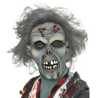 Adult Latex Decaying Zombie Mask + Hair Halloween Fancy Dress Costume Accessory