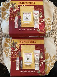 *Lot Of 2* Burt's Bees Essential Travel Kit-2 Lip Balms-Facial Wipes-Cream W/Bag