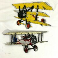 2 Vintage 1975 Sexton Cast Metal Yellow & Red Bi-Plane Wall Display Hanging