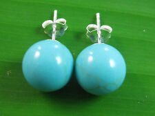 100% REAL 925 sterling silver TURQUOISE 10mm BALL Studs Earring TEEN GIRL WOMEN