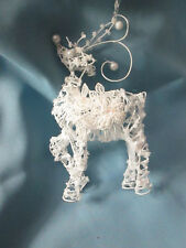 """7"""" Shabby Chic Delicate Reindeer w/ Embrodiery Applique Christmas Ornament, NEW"""