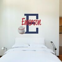CUSTOM NAME VINYL DECAL WITH REALISTIC BASEBALL WALL STICKER