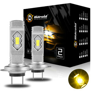 3000K Golden Yellow H7 LED Headlights Bulbs Conversion Kit High/Low Beam 100W