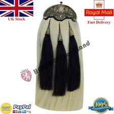 New Piper kilt Sporran White Horse Hair Antique Cantle with 3 Black Hair Tassels