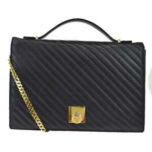 Auth CELINE Logo 2Way Hand Bag Leather Black Gold-Tone Made In Italy 34BS133