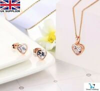 18K ROSE GOLD FILLED NECKLACE EARRINGS HEART SET MADE WITH SWAROVSKI CRYSTAL