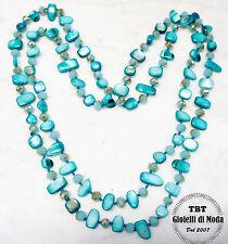 Blu Mare Collana Lunga Madreperla,perle,pietre Dure,cristalli da donna