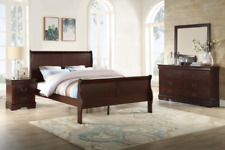 NEW Queen or King 4PC Brown Cherry Sleigh Bedroom Set Modern Furniture Bed/D/M/N