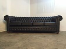 Chesterfield 4 Seater Sofa In Madras Black Genuine Leather (Brand New)