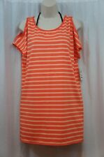 Michael Kors Swim Cover Sz S Hot Coral Orange Striped Cutout Shoulder Cover Up