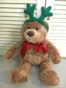 "Halmark Christmas Plush Bear wearing Antlers Plays Jiggle Bells 18"""