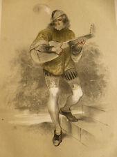 LITHOGRAPHIE FRAGONARD 1840 / LE MENESTREL XVe