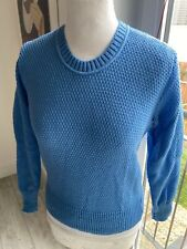 VINTAGE 70's BLUE  DEAD-STOCK STRETCHY RETRO KNIT SWEATER JUMPER  UK 8 SMALL
