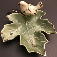 New Creativeco-op Porcelain Bird Leaf Figural Home Decor Decorative Gift