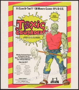 TOXIC CRUSADERS__Original 1991 Trade print AD / ADVERT / Troma promo ad__Avenger