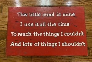 Vintage This Little Stool Is Mine - Child Red Wooden Bench Step Stool Farm House