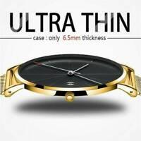 Men Trendy Ultra Thin Minimalist Watch Slim Mesh Stainless Steel Strap Quartz~