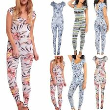 Short Sleeve Scoop Neck Floral Jumpsuits & Playsuits for Women