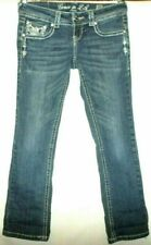 """Grace In LA Jeans Sz 7/27 Cropped 6""""3/4 Rise 26"""" Inseam Silver Studs & Crystals"""