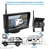 "Wireless 12-24V IR CCD Reversing CCD Camera + 4.3"" Rear View Monitor For Caravan"