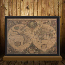 World Map Ocean Retro Decor Poster Vintage Kraft Paper Antique Nautical Gift