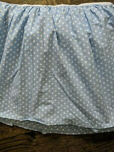 "Eddie Bauer Twin Bed Skirt Blue White Polka Dot Dust Ruffles 15.5"" Drop"