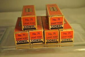 6 POSTWAR LIONEL NO. 71 DIE CAST LAMP POSTS With Boxes