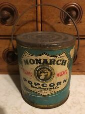 """Vintage Monarch Popcorn 4"""" Tin With Lid"""