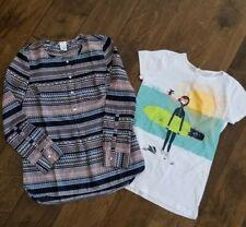 2X Crewcuts Girls Top Size L 10/12 Bohemian Blouse & Surfing Print T-shirts*NWOT