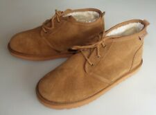 NEW MINNETONKA Barry Boot Moccasin Slippers Brushed Leather Faux Fur TAN Mens 11