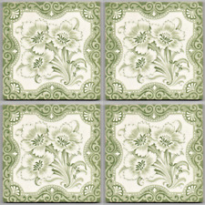 GrayGreen floral aesthetic style reclaimed antique tile setx4 Victorian original